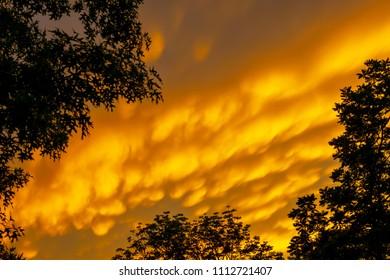 Mammatus cloud formations over Kentucky