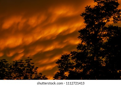Mammatus cloud formations over Kentucky