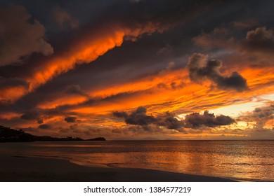 Mammatus clouds taken at sunset at Jolly Beach Resort on the island of Antigua.