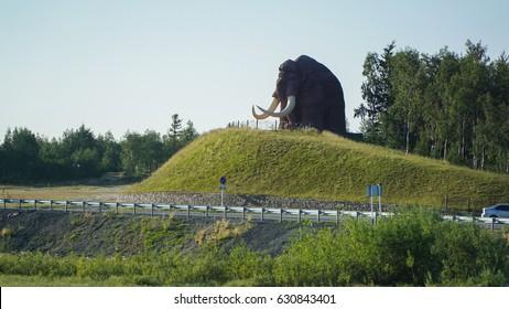 Mammoth monument at the entrance to the city of Salekhard. Yamalo-Nenetskiy Autonomous Okrug, Russia. Summer