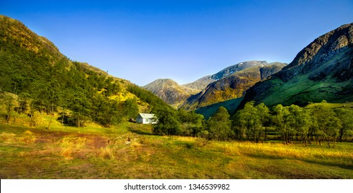 The Mamores in the Lochaber area of the Grampian Mountains in the Scottish Highlands.