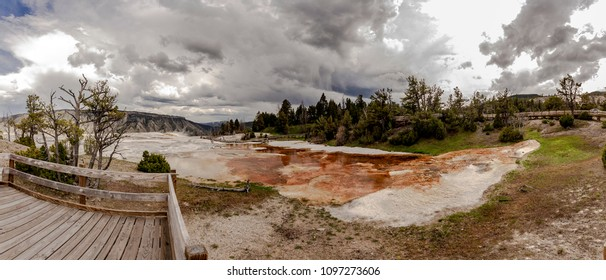 Mamoth hot springs in Yellowstone National Park panorama