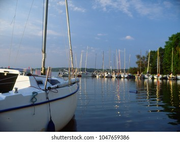 Mamry Lake, Masuria region (Mazury), Poland - July, 2009: sailboats on Mamry Lake