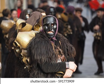 Mamuthones at Sardinia carnival and tradition