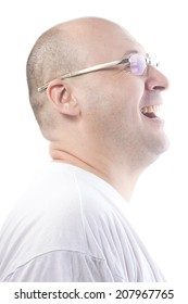 man at 38 wearint white t-shirt smiling and laugh