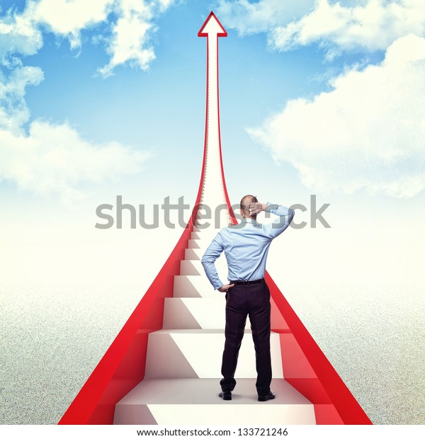 man and 3d red arrow with stair
