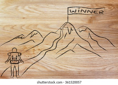 man about to hike to the top of a mountain with a banner saying Winner
