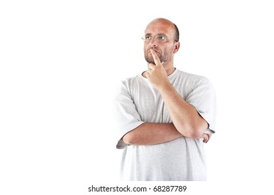 Man absent-minded isolated over white
