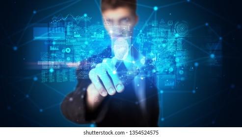 Man accessing modern hologram personal database with fingerprint identification