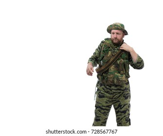Man actor in the form of an American fur seal posing on a white background. Special Forces in Vietnam, 1970's.