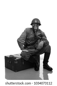 man actor in military uniform and gas mask soldiers of the Red Army period World War II photo made in the style of