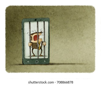 man addicted to the mobile phone is trapped inside the phone like a prison