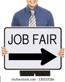 A man advertising a Job Fair signboard or poster