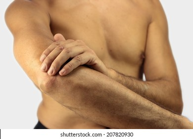 man affected by Tennis elbow or lateral epicondylitis