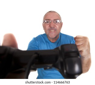 a man after having won a game with the console