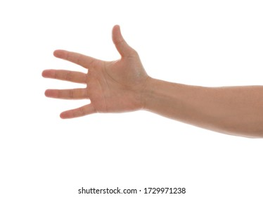 Man against white background, closeup of hand