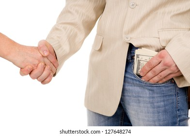 the man agreed about the bribe and puts it in his pocket isolated on white background