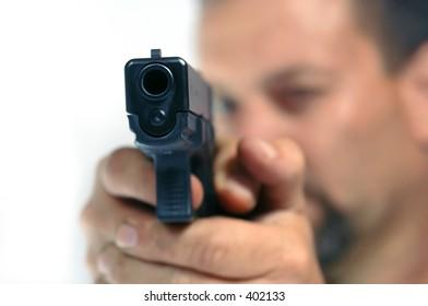 Man aims pistol