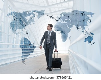 Man at the Airport with Virtual Worldmap