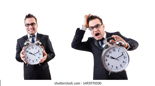 Man with alarm clock isolated on white