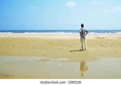 Man alone at the beach