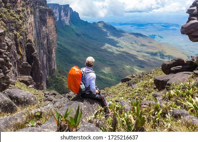 Man alone during trekking at Monte Roraima.