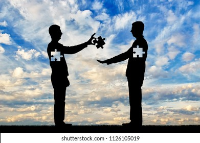 A man is an altruist, a donor who gives a piece of himself, sacrificing himself to the person who needs it. Conceptual scene of altruism, donor, volunteerism