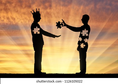 Man is an altruist who sacrifices himself and the man is an egoist with a crown on his head that takes. Conceptual scene of social problems