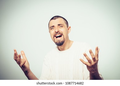 Man angry in pullover