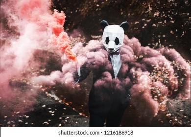 Man in animal Panda mask with colored smoke. Wildlife danger.