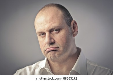 Man with annoyed expression