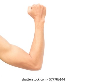 Man arm strong with muscle on white background