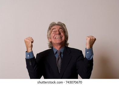 Man with arms in the air