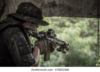the man Army soldiers during the military operation. war, army people concept