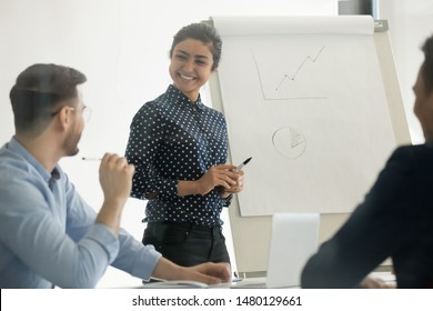 Man ask question or share ideas at seminar, focus on hindu woman business coach interacting with company employees stands near flip chart, professional development activities, teach knowledge concept