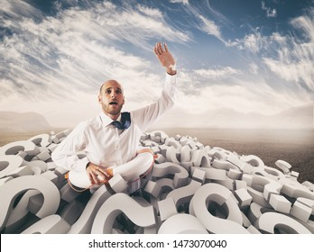 Man asks for help submerged by question marks. 3D Rendering