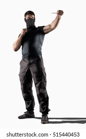 Man atacking with knife isolated
