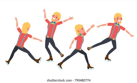 Man Athlete Figure Skating. Ice Figure Skater. Athletes Winter Sport. In Action. Synchron Dancer. Different Poses. Isolated Flat Cartoon Character Illustration