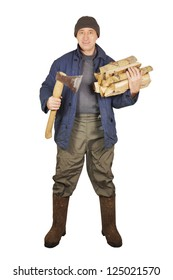 Man with an axe and cordwoods