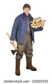 Man with an axe and firewoods