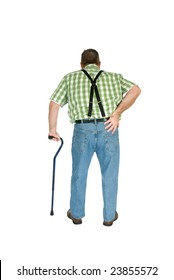 A man with back pain walks with the assistance of a cane.