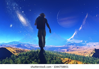 Man in the background of the cosmic landscape..,3d render