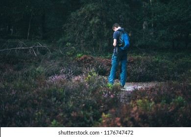 Man with backpack outdoors in moorland. Rear view.