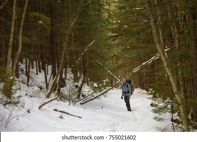 Man is backpacking in winter forest