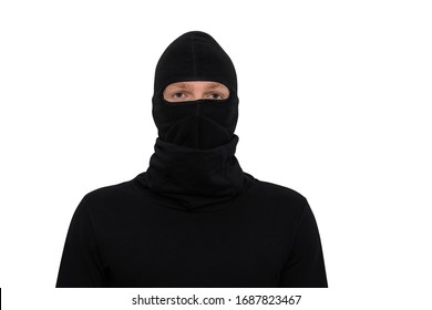 man in balaclava close-up portrait isolated on a white background