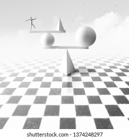 Man balancing over unstable surreal metaphysics structure