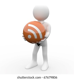 Man with a ball in his hands, with the logo RSS