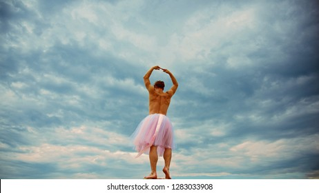 Man in ballerina skirt outdoor. Crazy ballerina. drag queen. Man dancing in tutu in ballet studio. Funny man freak. Inspiration and dreaming. i can be a star. fun party. perfect in every way.