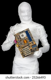 Man of bandaged with motherboard on the black background
