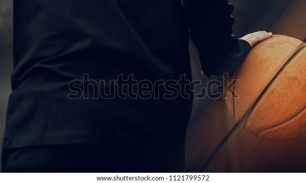 Man with a basketball. Interior poster